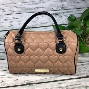 Betsey Johnson beige quilted satchel bag